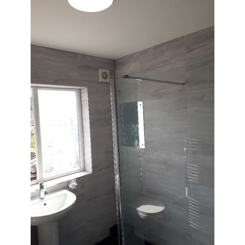 tiling bathroom glass shower wall